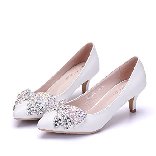LEIT Rhinestones color Thin tie Bow Shoes cm Women's Shoes Shoes Wedding 5 diamond White White r10Carqwf