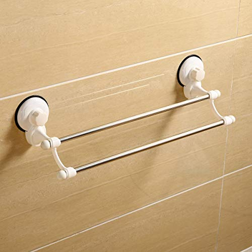 VADOLY Stainless Steel Suction Cup Non-Mark Double Rod Bathroom Towel Holder Wall Mount Rack Rail Shelf
