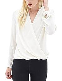 Women Long Sleeve V-Neck Faux Wrap T-Shirt Tops Blouse For Office