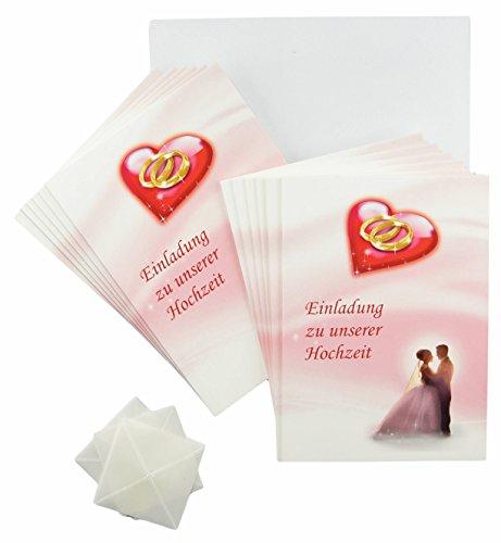 Einladungskarten Hochzeit rosa - rot - weiß im Set. Hochzeit feiern und dazu einladen mit 12 x Karten zur Einladung, 12 weiße Briefumschläge und je 12 Fotoecken zum Foto einstecken (12 Stück, Einladungskarten)