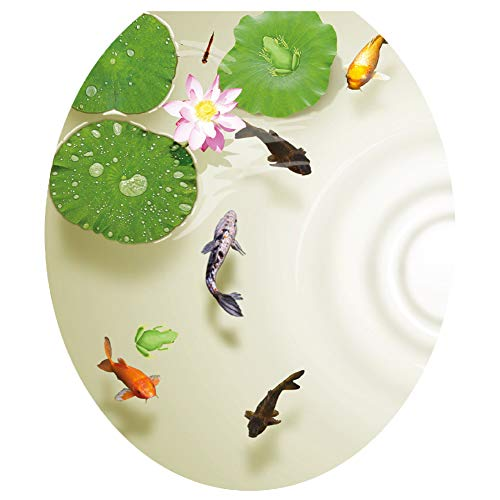 always88 3D Lotus Fish Water Bathroom Toilet Seat Lid Cover Decals Stickers Pond Frog Goldfish PVC Sticker Removable Self-Adhesive Restroom Decor Art Decoration 12.8X14.8inch (A) (Fish Toilet Seat)