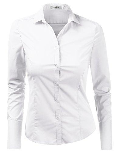 Doublju Womens Slim Fit Business Casual Long Sleeve Button Down Dress Shirt White Medium by Doublju (Image #7)
