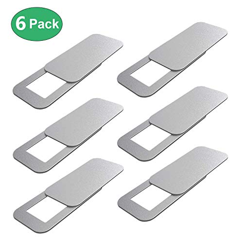 Laptop Camera Cover (6 Pack), Allinko Webcam Cover Slide for MacBook Air Pro iMac iPad Notebook Surface Pro Computer Tablet Desktop PC Monitor, Camera Sliding Blocker Utra Thin Privacy Slider - Silver