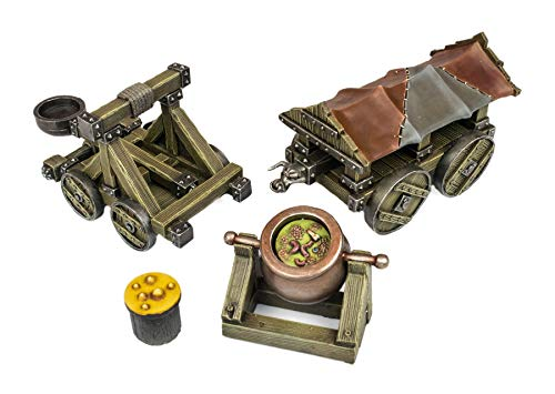 War World Gaming Medieval Siege Battering Ram, Catapult and Cauldron Set - 28mm Fantasy Wargaming Terrain Model Diorama