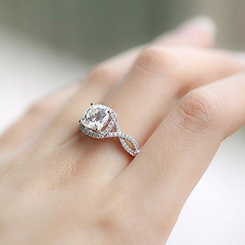 Gowe 2carat CT Def Coussin Cut Lab Cultivées Charles en diamant véritable avec accents de diamant authentique 14K 585Or blanc