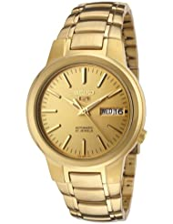 Seiko Mens SNKA10 Seiko 5 Automatic Gold Dial Gold-Tone Stainless Steel Watch