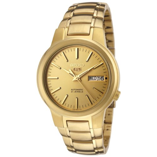 Seiko Men's 5' Japanese Automatic Gold-Tone-Stainless-Steel Casual Watch, Color:Gold (Model: SNKA10)