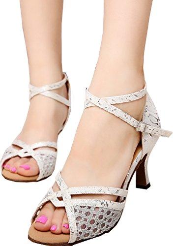 CFP JJ-6218 Womens Latin Salsa Tango Cha-cha Ballroom Kitten Heel Peep-toe PU Professional Dance-shoes Silvery 2G8yd