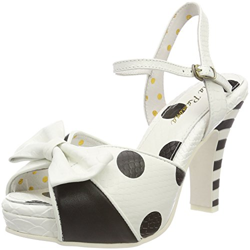 Lola Ramona Women's Angie Open Toe Heels Off-white (Black/Cream 77)