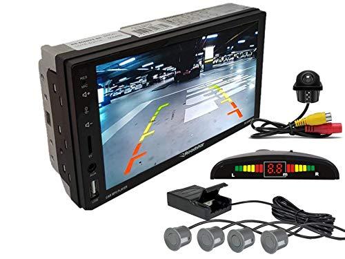 Multimidia Mp5 RS-505MP5 Com Câmera De Ré RS-122BR E Sensor De Estacionamento RS-104BR CINZA