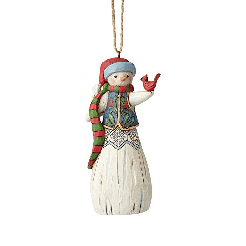 Enesco Department 56 Jim Shore Folklore Snowman with Cardinal Hanging Ornament, 4.75