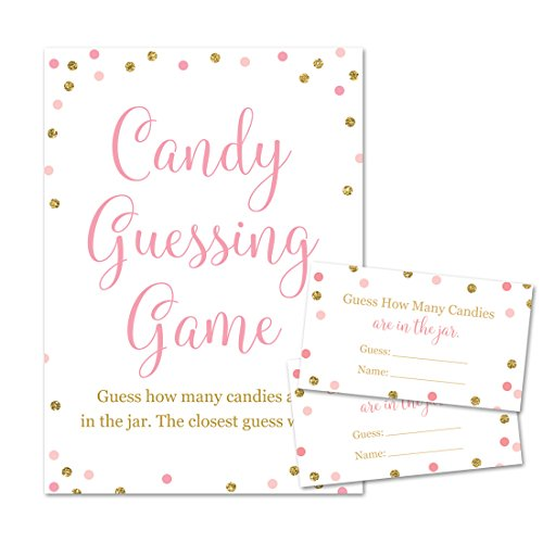 Baby Shower Candy Guessing Game, How Many Candies, Faux Gold Glitter and Pink Dots (24 Cards and 1 Sign) for $<!--$10.95-->