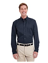 Mens Tall Foundation 100% Cotton Long-Sleeve Twill Shirt with Teflono - BLACK - XLT