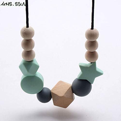 Chain Necklaces - Silicone Wooden Beads Necklace Baby Silicone Teething Nursing Necklace For Newborn Mom BPA Free Breastfeeding Jewelry - by LuckyNecklaces - 1 PCs