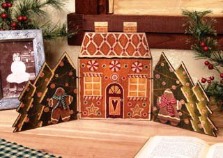 Primitive Country Style Homespun Christmas Decorations ~ Gingerbread House Display / Shelf Sitter