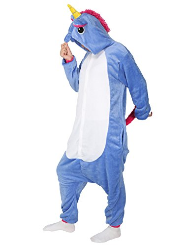 Unicorn Onesie Animal Pajamas Adult Sleepwear Kigurumi Cosplay Halloween Costume (XL (Height 181-187 CM), Dark Blue)
