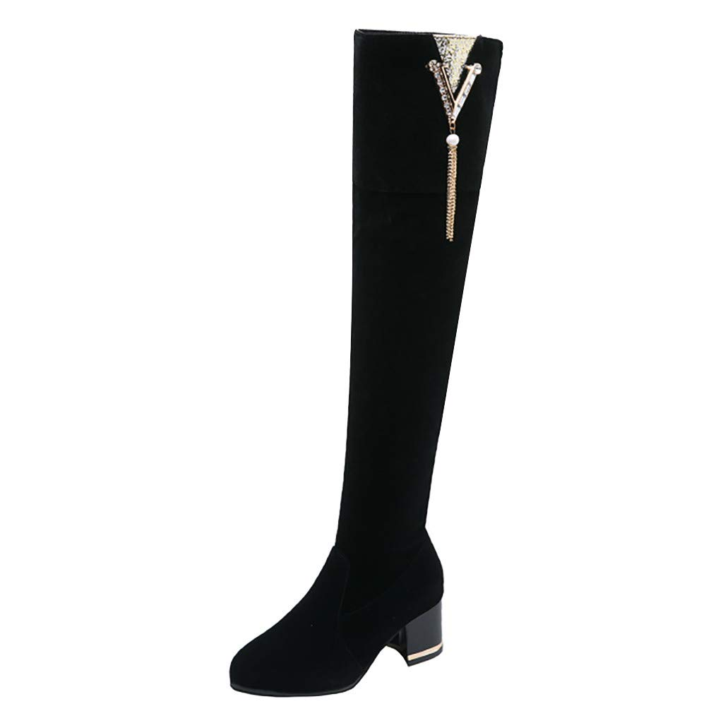 Hurrybuy Women Winter Boots Over Knee Long Boots Fashion Boots Heels Autumn Quality Suede Comfort Square Heels Black by Hurrybuy Women's Shoes