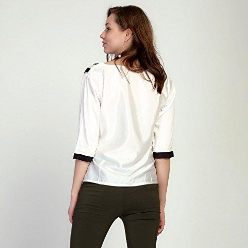 Manche shirt Chemisier de Bold Pull T Uni Chic V Mousseline Tunique 4 Col Soie Fille Et Printemps Manner 3 Blouse Femme wAYxqtFx
