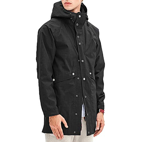 - Romanstii Mens Jacket with Hood Winter Long Fashion Black Raincoat Men Waterproof Windproof,Unisex,for Ski,Travel,Fishing Any Outdoor Activities