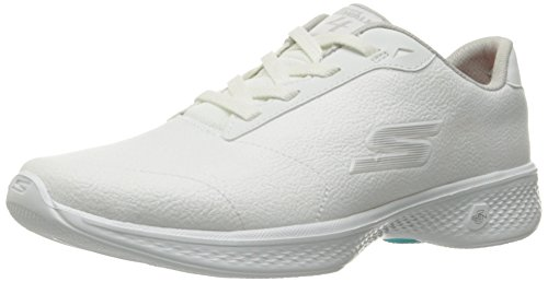 Skechers Performance Women's Go Walk 4 Premier Walking Shoe,White/Silver Synthetic Leather,6.5 M US Premiere Leather
