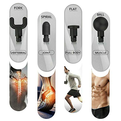 Handheld Personal Muscle Massage Gun, Deep Tissue Massager,Powerful Cordless Percussion Massage Gun, Portable Massage Device with 4 Massage Heads,Featuring Quiet Glide Technology (Black)
