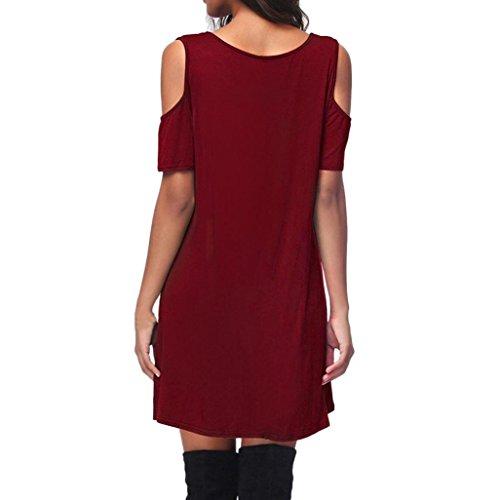 MCYs Frauen Schulterfrei Kurzarm Criss Cross V-Ausschnitt Bandage T-Shirt  Kleid Minikleid Rüschen ... c1a0a638b5