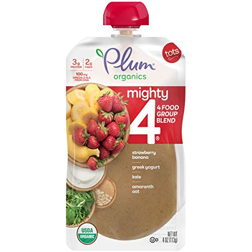 Plum Organics Mighty 4, Organic Toddler Food, Strawberry, Banana, Greek Yogurt, Kale, Amaranth and Oat, 4 ounce pouches (Pack of 12) (Packaging May Vary)