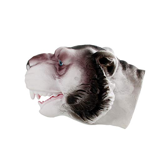 Likero Cosplay Animal Head Hand Puppets Costume Halloween Scary Toy Spoof Rex Head Gloves Tricky Game Toy (Wolf Hand Puppets)