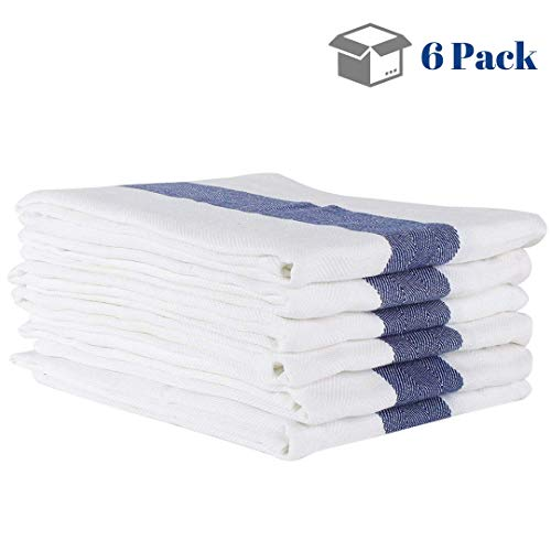 Linen and Towel 6 Pack Kitchen Towels, 20 x 28 inch Cotton Dish Towels, Tea Towels, Bar Towels with Blue Stripe in Herringbone Weave