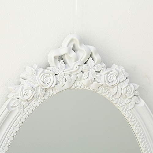 CasaJame Home Furniture Accessories Decoration Oval Mirror to Hang on the Wall with Ornamental Flowers 64x40cm