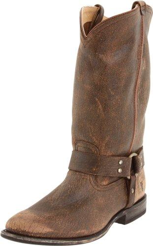 FRYE Women's Wyatt Harness Boot, Dark Brown Cracked Leather, 6.5 M (Frye Wyatt Boot)