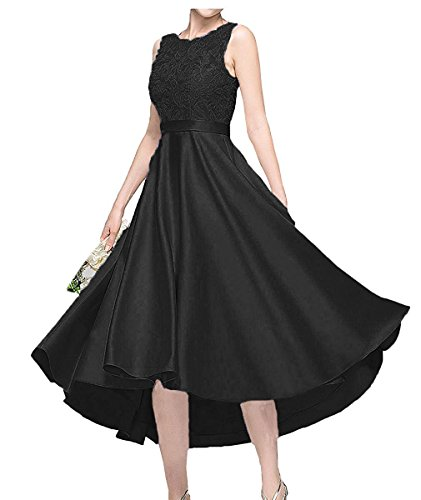 Blau Schwarz Abendkleider Linie Kurzes Spitze A Ballkleider Satin Damen Abschlussballkleider Charmant mit cFgOAA