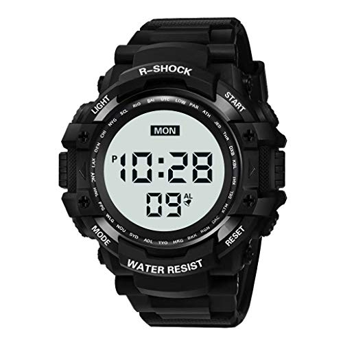 Mens Digital LED Watch HalloweenGift Waterproof Wrist Watch Military Multi-Function Alarm Clock Date Week Electronic Watch Evangelia.YM (Black)