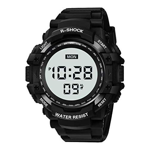 Mens Digital LED Watch HalloweenGift Waterproof Wrist Watch Military Multi-Function Alarm Clock Date Week Electronic Watch Evangelia.YM (Black)
