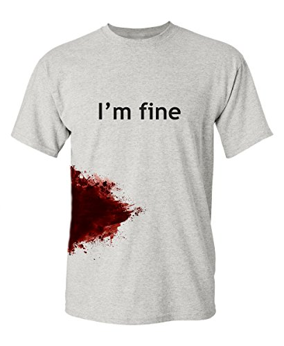 I'm Fine Graphic Zombie Slash Movie Halloween Injury Novelty Cool Funny T Shirt 2XL Ash -