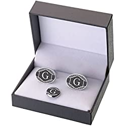 Lillian Rose Black Monogram Letter G Cufflinks Tie Tack Set