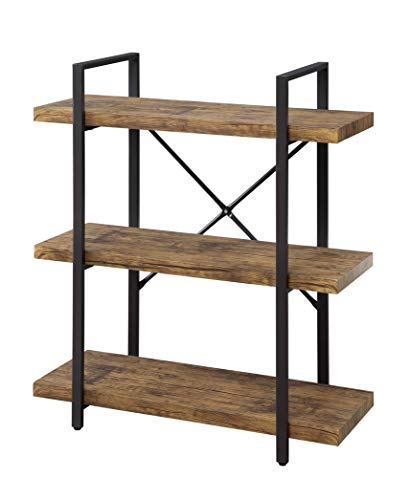 Abington Lane Multi-Tier Industrial Bookshelf - 3 Tier Decorative Bookcase Great for Holding Picture Frames, Plants, and Books Sturdy Build Perfect for Living Room/Office (Walnut Finish)