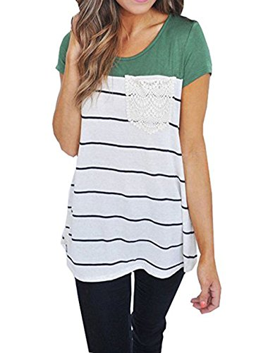 Hount Summer Colorblock Short Sleeve Shirts Plus Size Tunic Tops Blouses (XX-Large, (Colorblock Tunic Top)