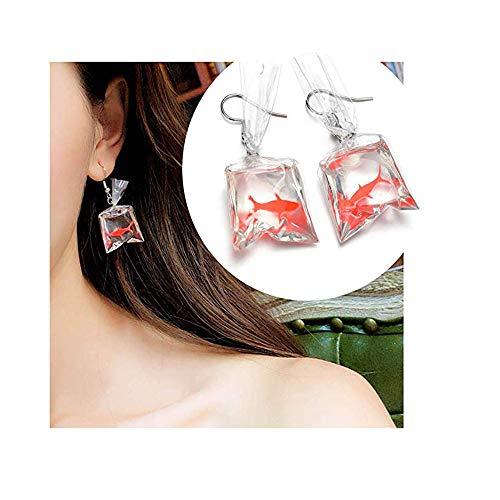 - Gold Fish Pocket Drop Earrings- Goldfish Water Bag Shape Dangle Hook Earrings Female Charm Jewelry