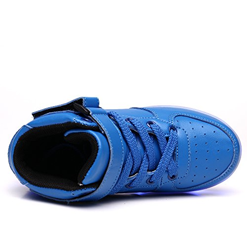 Pictures of VILOCY Kids Boys Girls High Top USB Blue 11 M US Little Kid 6