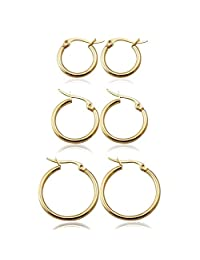 UM Jewelry Classic Round Women's Hoop Earrings Surgical Stainless Steel Hypoallergenic,Gold Tone