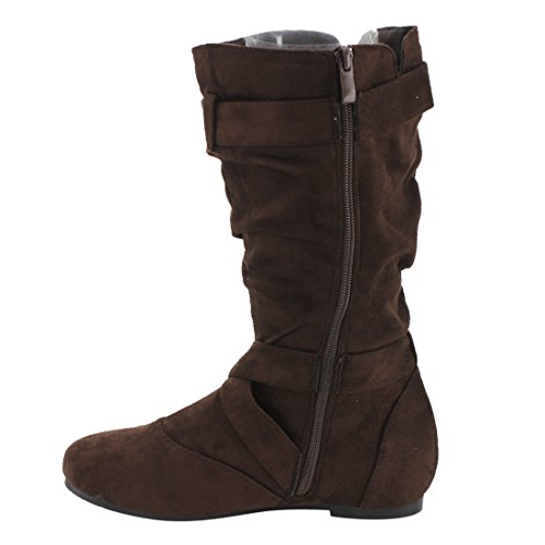 Side Boots Cut Zipper Women's 84 Brown Strap Flat Buckle Out Heel Forever Slouchy Kayden aqxFX7n76