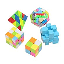 HJXD globle Magic Cube Puzzle Set of 2x2x2, 3x3x3, Pyraminx, Meganminx, 3x3 Mirror Cube - 5 Pack Pink