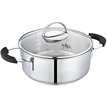 Mr Rudolf 2 Quart 18/10 Stainless Steel 2 Handles Stock Pot with Glass Lid Dishwasher Safe PFOA Free Casserole Stockpots 20cm 2 Liter Dutch Oven