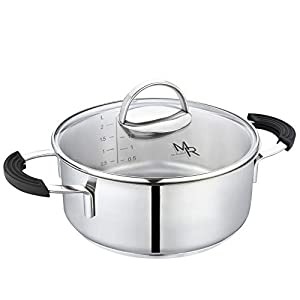 Mr Rudolf 2 Quart Dutch Oven With Glass Lid – Nickel Free 18/10 Stainless Steel Stockpot With 2 Handles,Dishwasher Safe…
