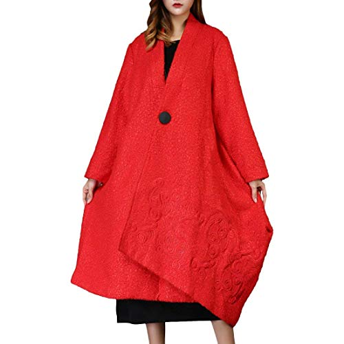 Trench Coupe Revers Femme Parker Adelina Branché Hiver Outerwear Bouffant Button Rouge Manches Longues Brodée Irrégulier Vent Costume Iw5dq0nd