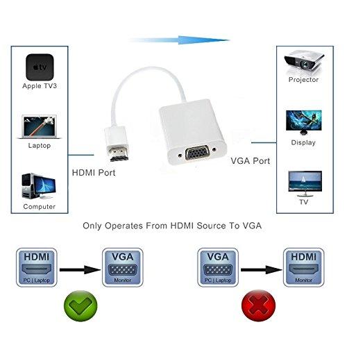 Adwits HDMI zu VGA Adapter 1080P Aktiv HDMI zu VGA Konverter mit 3,5 mm Audio Ausgang und Micro USB Ladekabel f/ür Raspberry Pi Chromebook PC Laptop Xbox PS4 3 und mehr Wei/ß