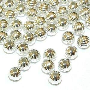 (Steven_store MB7281 Silver 5mm Corrugated Round Plated Brass Metal Spacer Beads 100pc Making Beading Beaded Necklaces Yoga Bracelets)