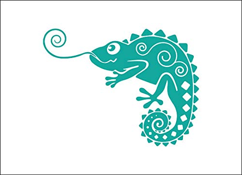 on Lizard Decal, Tribal Gecko, Tropical Animal, Cute Tumbler Decal, Reptile Vinyl Laptop Sticker, Unique Animal Monogram, Island Animal, Decal for Wall Bedroom MacBook 3 inches ()