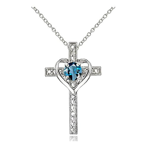 Glitzs Jewels Sterling Silver London Blue Topaz and Simulated Diamond Accent Cross Necklace